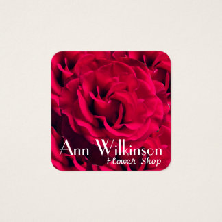 Red rose flowers image pattern cover square business card