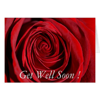 Red Rose Get well Soon Note Card