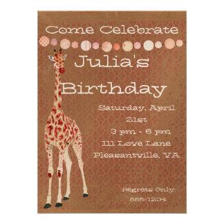 Red Rose Giraffes Birthday Invitation