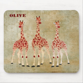 Red Rose Giraffes Personalized  Mousepad
