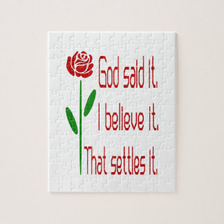 Red Rose God Said It Jigsaw Puzzle