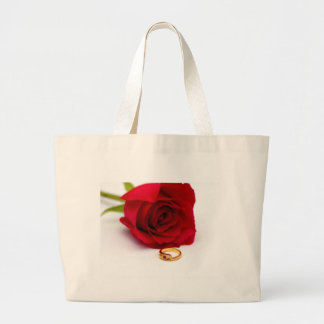 Red Rose Gold Diamond Ring Canvas Bag