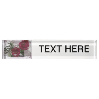 Red rose grunged original design nameplate