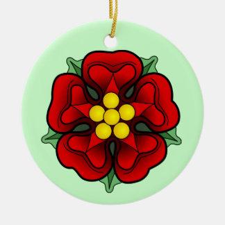 Red Rose Hanging Orament Round Ceramic Decoration