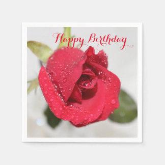 Red Rose- Happy Birthday Disposable Serviette