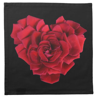 Red Rose Heart Cloth Napkin