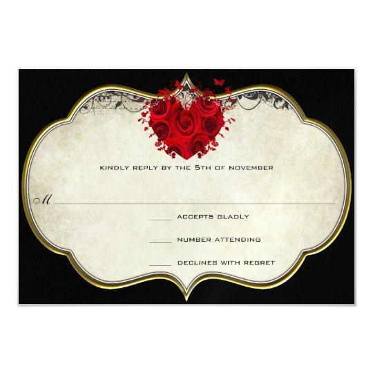 Red Rose Heart on Black Metallic RSVP Card