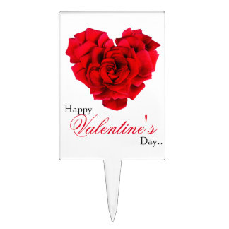 Red rose heart shaped love Cake Pick