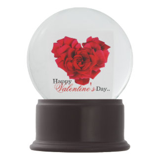 Red rose heart shaped love snow globes