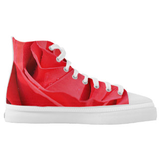 Red Rose High Top Shoes Printed Shoes