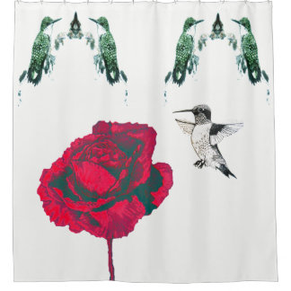 Red Rose Hummingbirds Shower Curtain