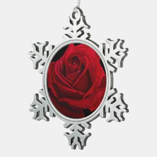 Red Rose Illustration Pewter Ornament