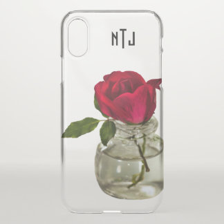 Red Rose in Bottle Floral Photography - Clear iPhone X Case