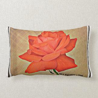 Red Rose in Tan Custom Lumbar Throw Pillow