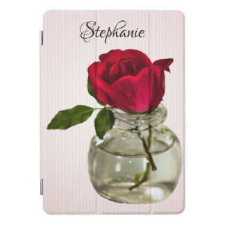 Red Rose in Vintage Ink Bottle Floral Photography iPad Pro Cover