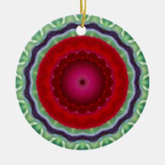 Red Rose Kaleidoscope ornamant Round Ceramic Decoration