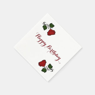 Red Rose Kiss kash002 Happy Birthday Disposable Napkin