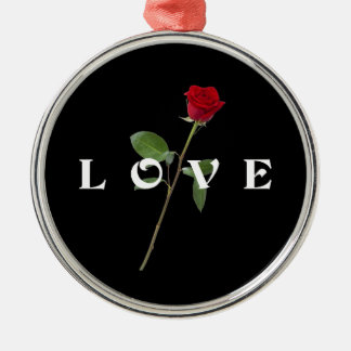 Red Rose Love Silver-Colored Round Decoration