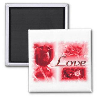 Red Rose Love Trio Square Magnet