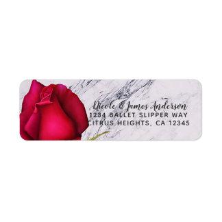 Red Rose Marble Modern Glam Bridal Shower Party Return Address Label