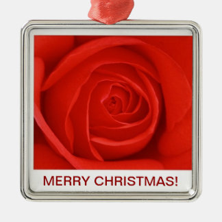 Red Rose Merry Christmas Ornament