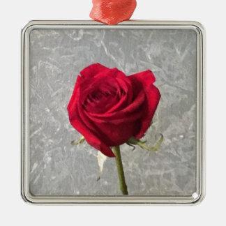 Red Rose Metal Ornament