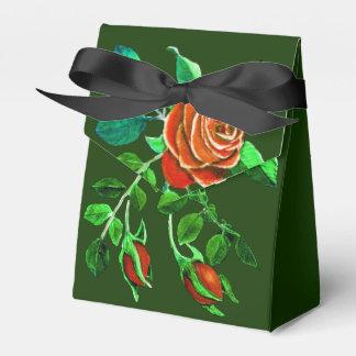 Red Rose Motif on Hunter Green Favour Box