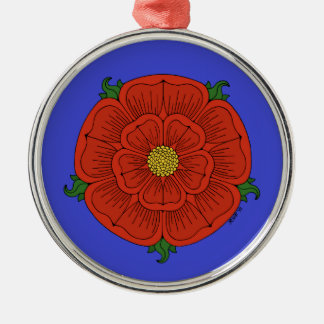 Red Rose of Lancaster on Blue Ornament