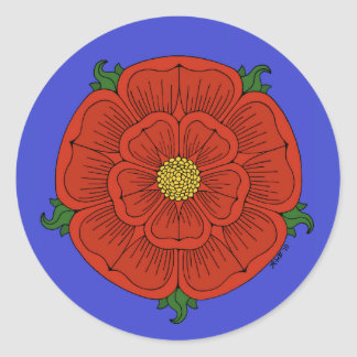 Red Rose of Lancaster (on Blue) Stickers