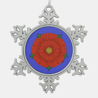 Red Rose of Lancaster Pewter Snowflake Decoration