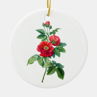 Red Rose of Province Round Ceramic Decoration