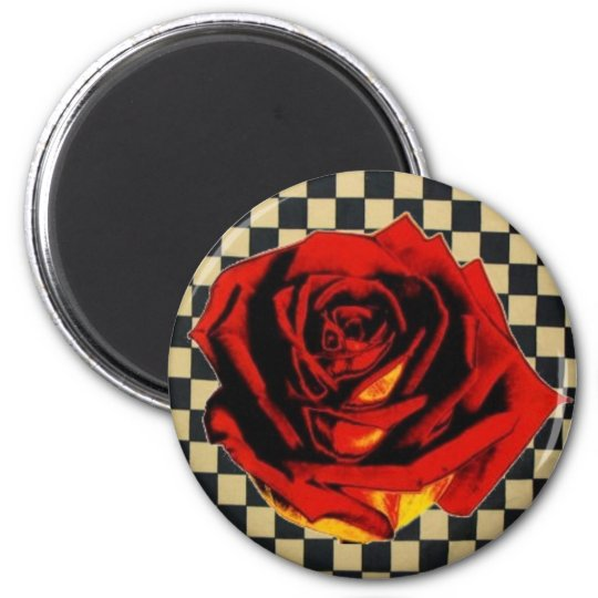 Red Rose on Black and Beige Check Magnet