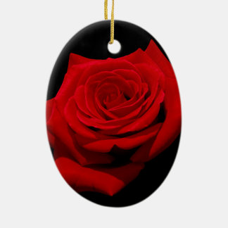 Red Rose on Black Background Ceramic Oval Decoration