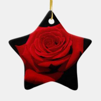 Red Rose on Black Background Ceramic Star Decoration