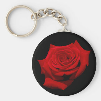 Red Rose on Black Background Key Ring