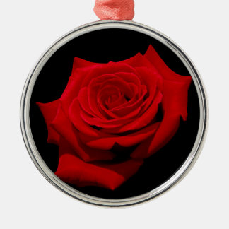 Red Rose on Black Background Silver-Colored Round Decoration
