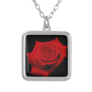 Red Rose on Black Background Silver Plated Necklace