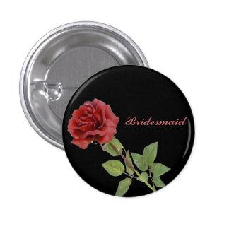 Red Rose on Black 3 Cm Round Badge