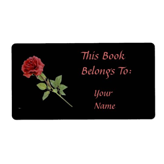 Red Rose on Black Bookplate Shipping Label