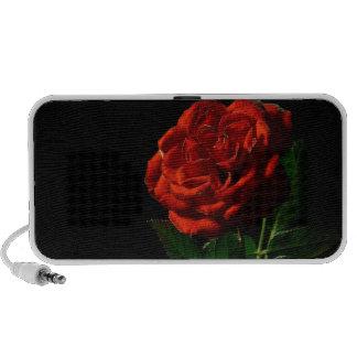 Red Rose on Black Floral Mini Speakers