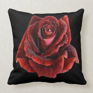 Red Rose on Black Pillow Cushion