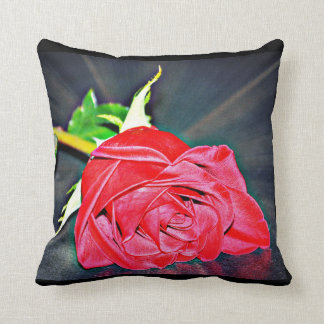 Red Rose On Black Poly Throw Pillow