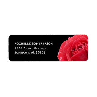 Red Rose on Black Return Address Labels