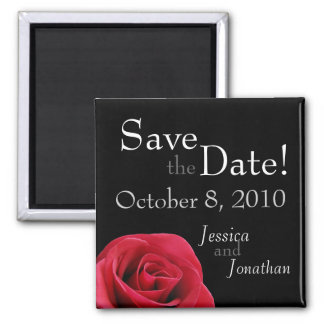 "Red Rose on black ""Save the Date"" Magnets"