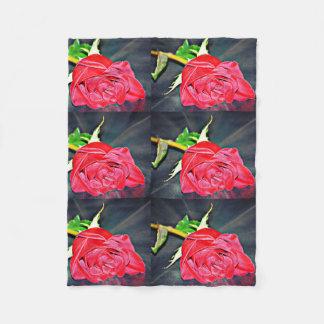 Red Rose On Black Small Fleece Blanket