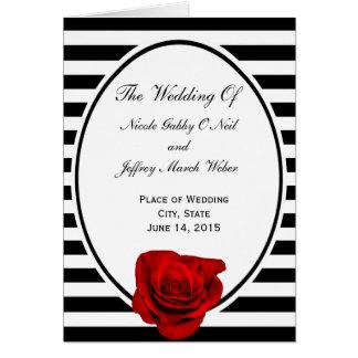 Red Rose on Black & White Stripes Wedding Program Card