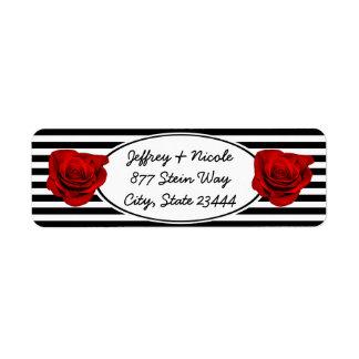 Red Rose on Black & White Stripes Wedding Return Address Label