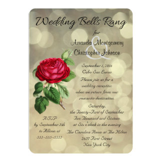 Red Rose on Bokeh Lights Post Wedding Reception 13 Cm X 18 Cm Invitation Card