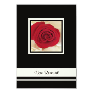Red Rose on Cream Rose Petals Vow Renewal Card