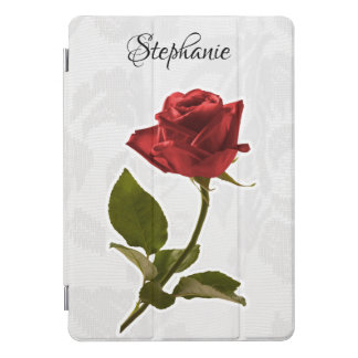 Red Rose on Faded White Lace Floral Photography iPad Pro Cover